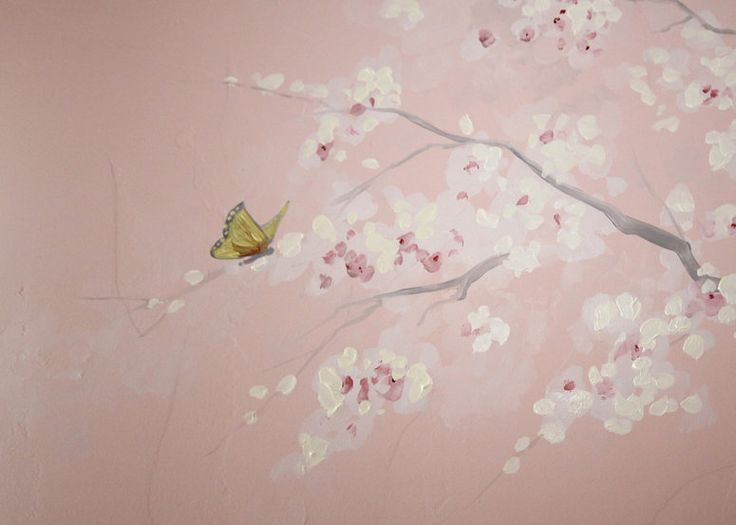Cherry blossoms close up hand painted wall murals for Cherry blossom mural