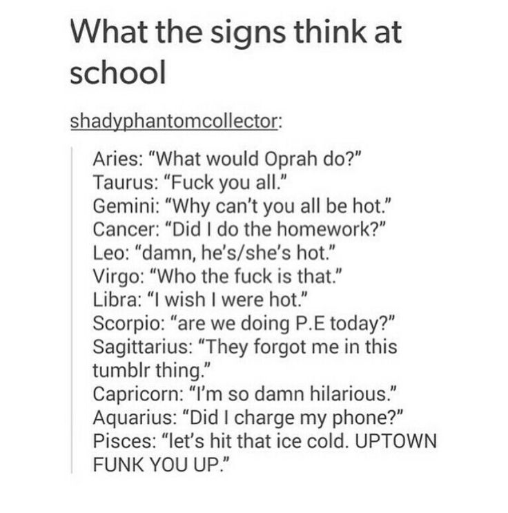 What signs think at school