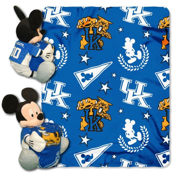 "Kentucky College - Disney 40X50 Fleece Throw W/ 14"" Plush Mickey Hugger"