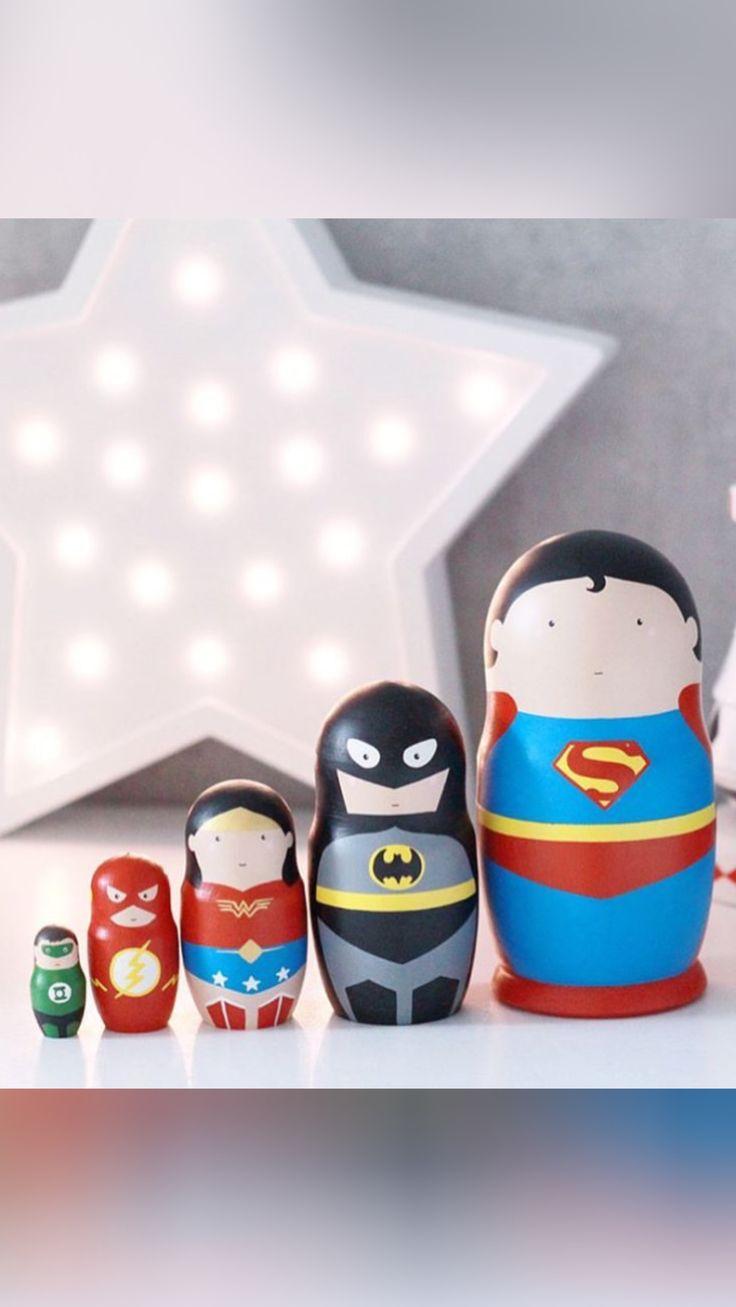 Set of Superheroes matreshka dolls. Justice league. Superman. Batman. Superwoman. Flash.