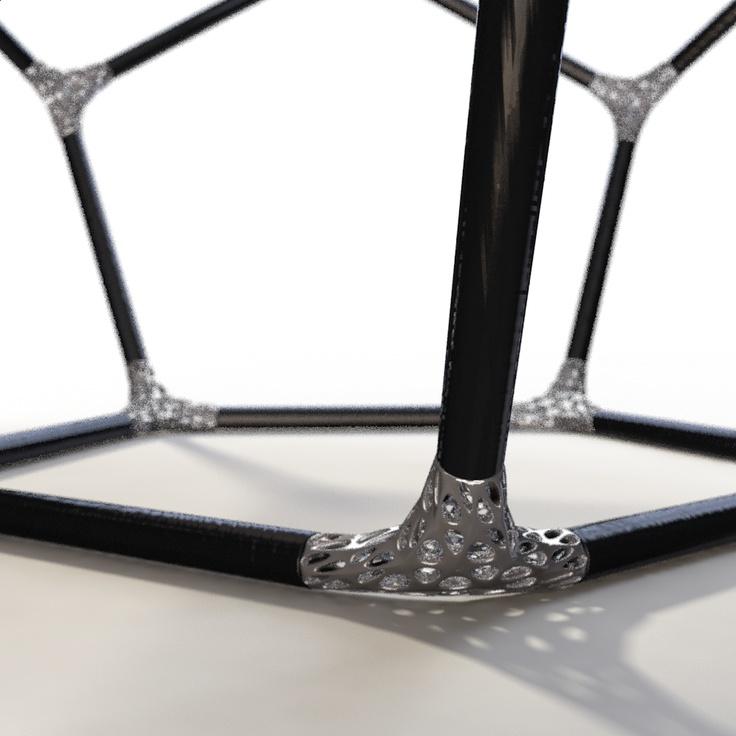 Ti-Join, Carbon fiber tubes + 3D Printed Titanium joints.