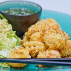 Panko Crusted Shrimp with Chili Garlic Glaze and Asian Slaw