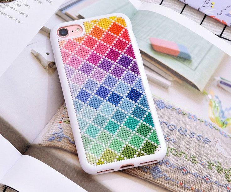 Kit - cross stitch iphone 7 and iphone 7 plus case, rainbow cross stitch iphone case, 14 CT kit, geometry pattern, DMC thread,