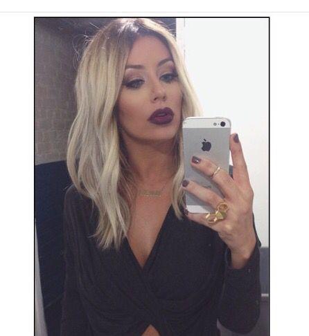 Platinum blonde with dark roots