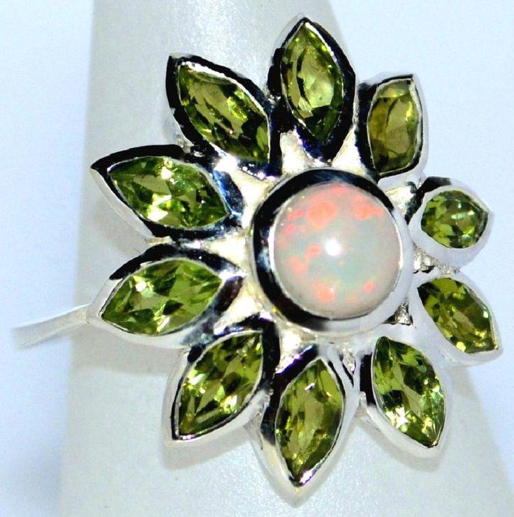 Ring Feuer OPAL Peridot Sterling Silber Mehrere Edelsteine 925 Größe 51.5 - 62