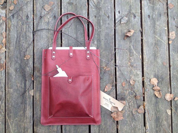 Shoulder Leather Bag for laptop MacBook PRO 13' by Sashacraftscom on Etsy