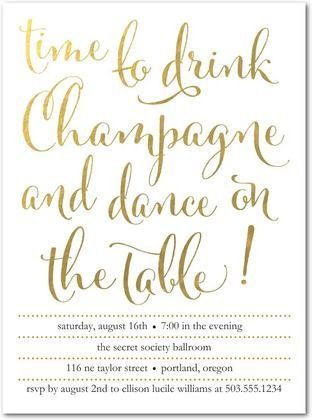 Time for Champagne - Party Invitations - Tokketok - White : Front
