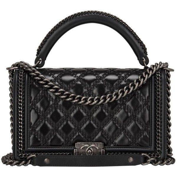 Chanel Black Quilted Shiny Goatskin New Medium Boy Bag With Top Handle found on Polyvore featuring bags, handbags, chanel, purses, handbags and purses, shoulder bags, structured shoulder bags, quilted purse, black quilted handbag and structured purse