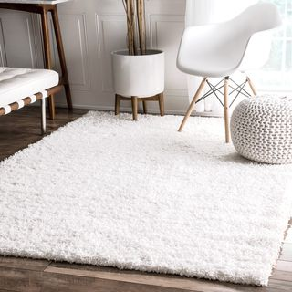 Safavieh Athens White Shag Rug (6' x 9') | Overstock.com Shopping - The Best Deals on 5x8 - 6x9 Rugs