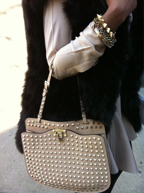 #DIY gold studded bag