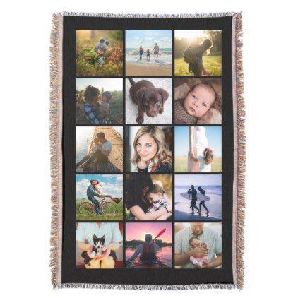 15 Square Photo Collage Keepsake Black Throw Blanket - college dorm gifts student students accessories freshmen