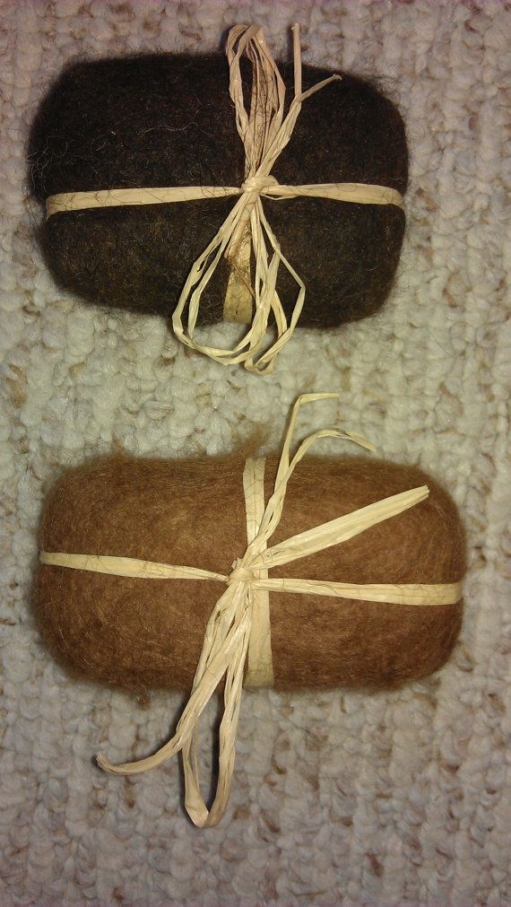 This listing is for 1 bar of felted soap that I hand felted from my alpaca's fiber. The bar of soap that I use before felting around it, is a 4 ounce bar of Ivory Soap. The fiber is from my alpaca herd.  This can be used as a washcloth and soap all in one, put in the bathroom for decoration or put in a drawer to make clothes smell nice  Dry on rack between uses.  Please let me know which color you would like, I also have grey available as well as Dove instead of Ivory soap.