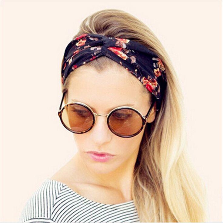 Las mujeres de la vendimia floral amplia venda del estiramiento del cabello diadema yoga elástico turbante floral accesorios para el cabello diadema torcida anudada