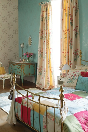 girls room ideas with wallpaper, fancy vanity and chair, paint, long curtains, sweet bed frame, quilt