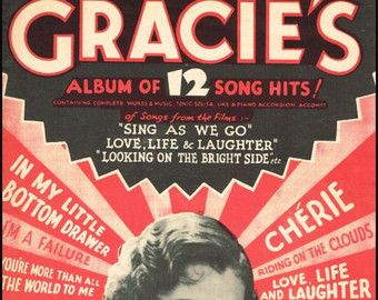 Gracie Fields 12 Song Hits. With Guitar and Ukulele Chords. Sheet Music Instant Download. Cover Artwork.