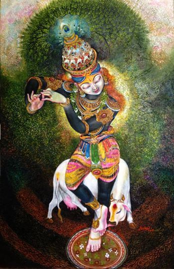 Kasturi Tilakam. oil on canvas. #krishnafortoday