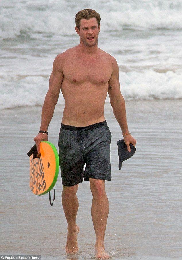 Shirtless Chris Hemsworth parades toned frame on the beach ...