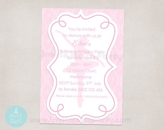 Ballerina Party Invitation by InviteMe2Party on Etsy, $12.00