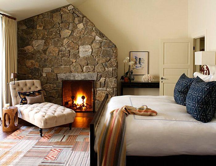 Superior Elegantes Gemutliches Schlafzimmer Design Mit Einem Kamin Wand ... Design Inspirations