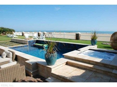 Inground pool and hot tub overlook the ocean. Gorgeous Virginia Beach North  End Oceanfront home. Virginia BeachHot TubsProperty SearchHumble AbodeOasisSpa  ...