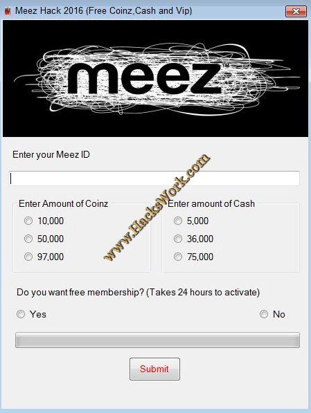 how to get free money on meez