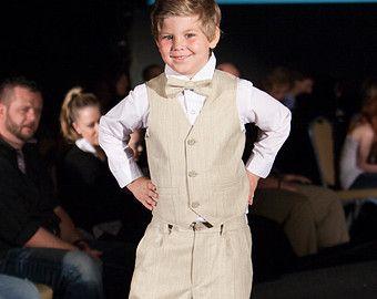 Boy Formal Outfit Light Beige Flat Cap Vest Bow Tie Trousers Wedding Ring Bearer