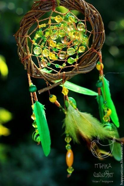 """Ловец снов """"Ночная роса"""" 2 - зелёный,ловец снов,ловец сновидений,ловушка для снов"""