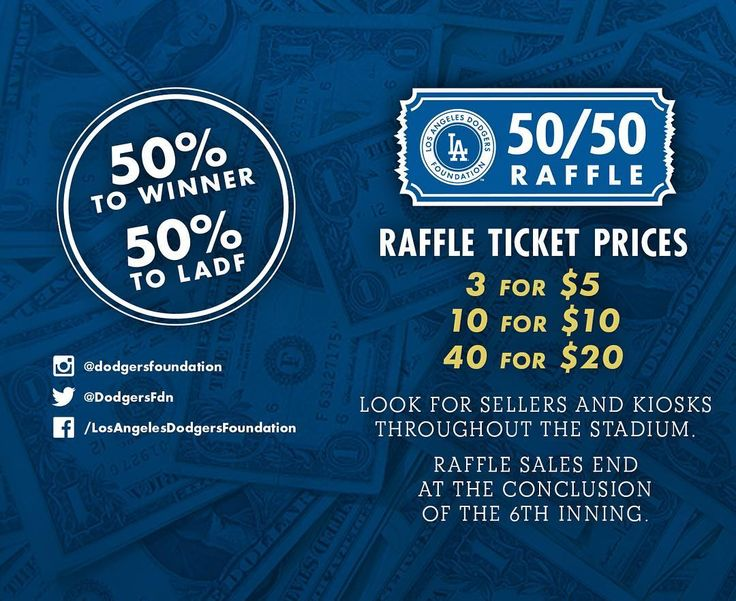 "THINK BLUE: The @dodgersfoundation 50/50 Raffle launches tonight at Dodger Stadium! ""Dodger Fans! The LADF 50/50 Raffle will launch at Dodger Stadium tonight! Tickets will be sold by staff in gold shirts throughout the Stadium and at kiosks. The winning raffle number will be selected during the 7th inning to determine the 50/50 Raffle jackpot winner. The winning raffle number will be displayed in stadium during the 8th inning and on twitter @DodgersFdn. Half of the 50/50 Raffle jackpot will…"