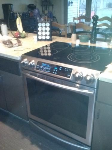 samsung stove home depot. samsung flex duo 5.8 cu. ft. slide-in double oven electric range with self-cleaning convection in stainless steel stove home depot