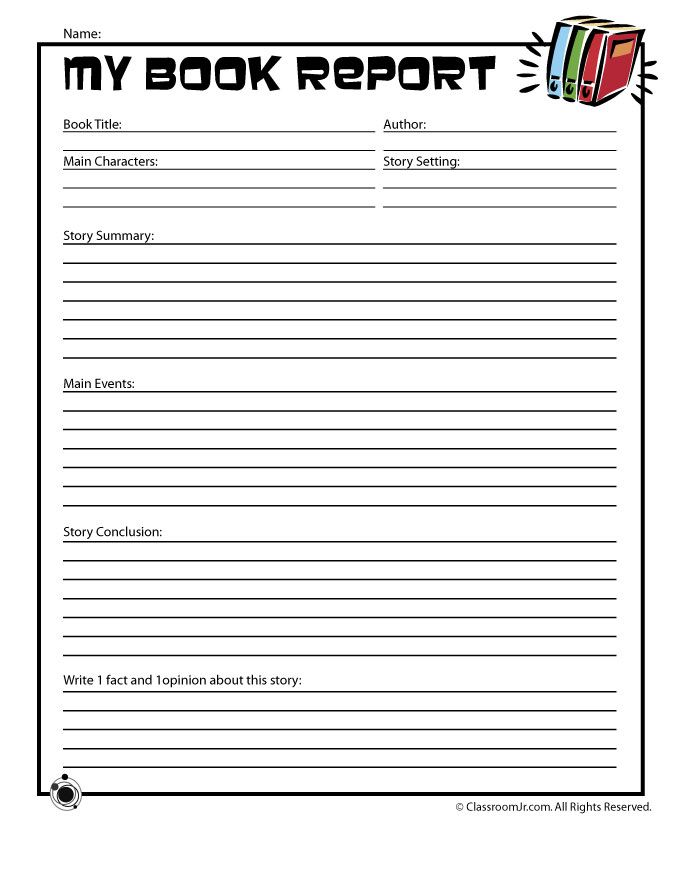 Printable Book Report Forms Easy Book Report Form for Young Readers – Classroom Jr.