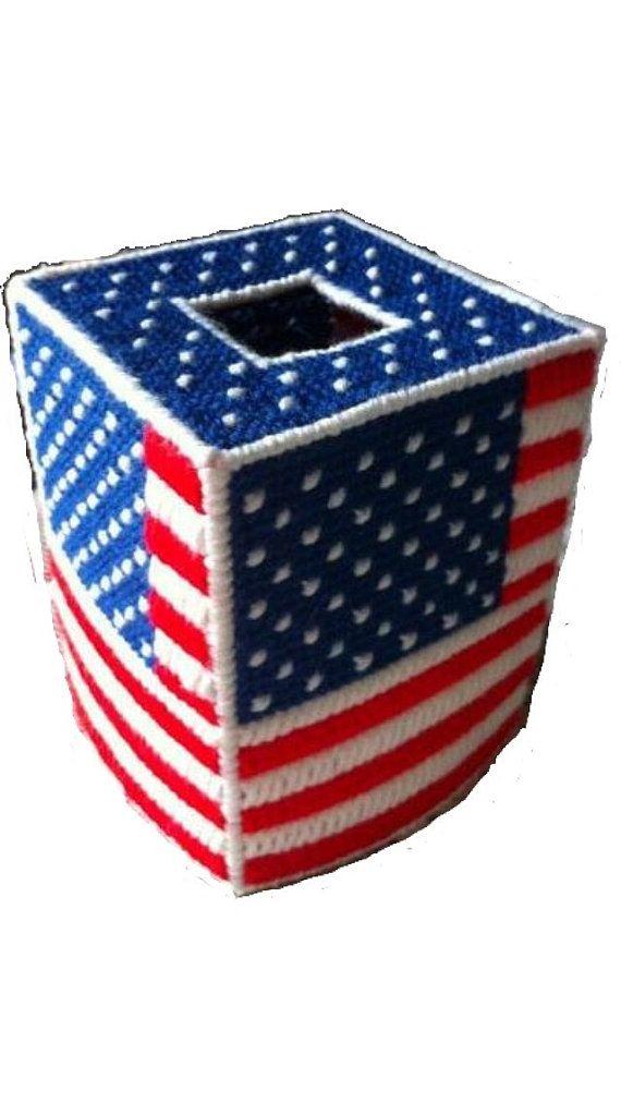 Usa Patriotic American Flag Tissue Cover In Plastic Canvas