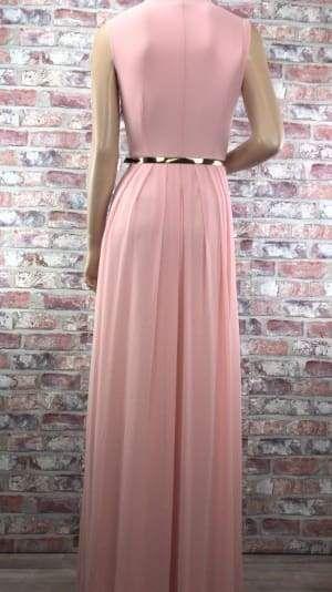 878150f68f0e Ružové dlhé spoločenské šaty