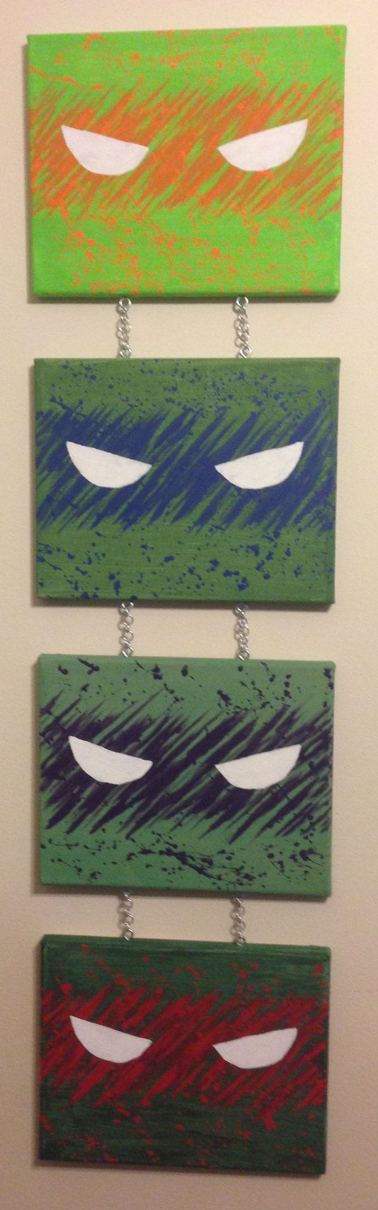 Teenage Mutant Ninja Turtles, Splatter Paint, TMNT, Michelangelo, Leonardo, Donatello, Raphael, Acrylic, Paint, Canvas