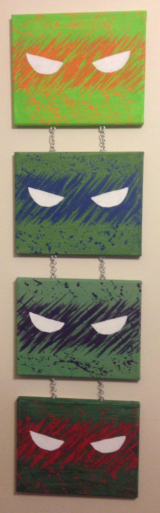 Teenage Mutant Ninja Turtles, Splatter Paint, TMNT, Michelangelo, Leonardo, Donatello, Raphael, Acrylic, Paint, Canvas