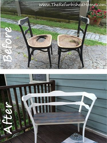 A full tutorial to turn two old, decrepit chairs into a beautiful bench. From www.TheRefurbishedHome.com