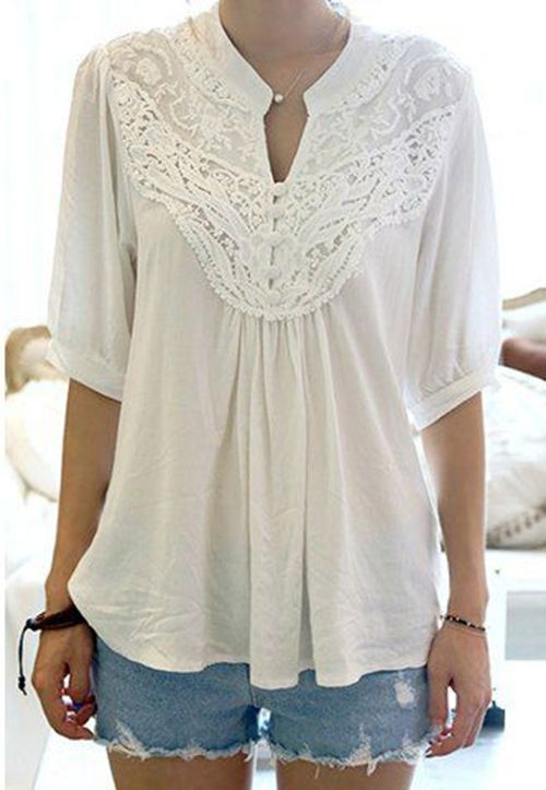 Grace Lace Splicing Crochet Flower 1/2 Sleeve Women's Blouse
