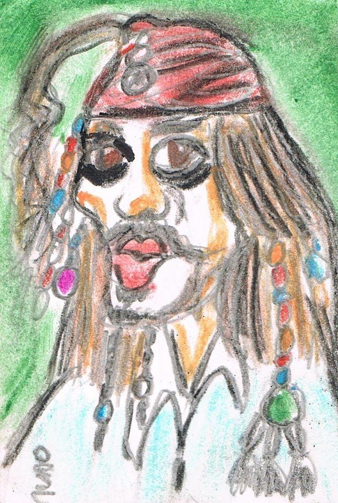 ACEO original Jack Sparrow Pirates Caribbean Art Card  Colored Pencils Signed #Miniature