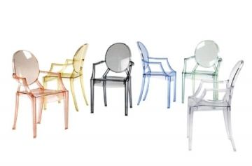 Louis Ghost Stol (Udendørs stole), Designer: Philippe Starck, Producent: Kartell, Pris: 2110 kr, Materiale: Stolen er formet i transparent eller mat polykarbonat