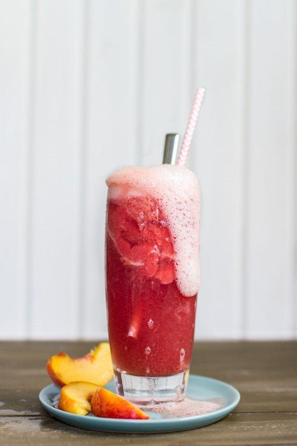 Raspberry Peach Sorbet + Kombucha Floats | edibleperspective.com