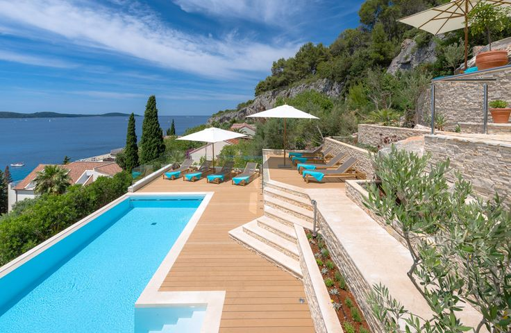 Villa Obala. Climbing a coastal hillside on the island of Hvar, this family villa in Croatia has fabulous views from almost every room, lovely terraces for al fresco living, and an inviting infinity pool.