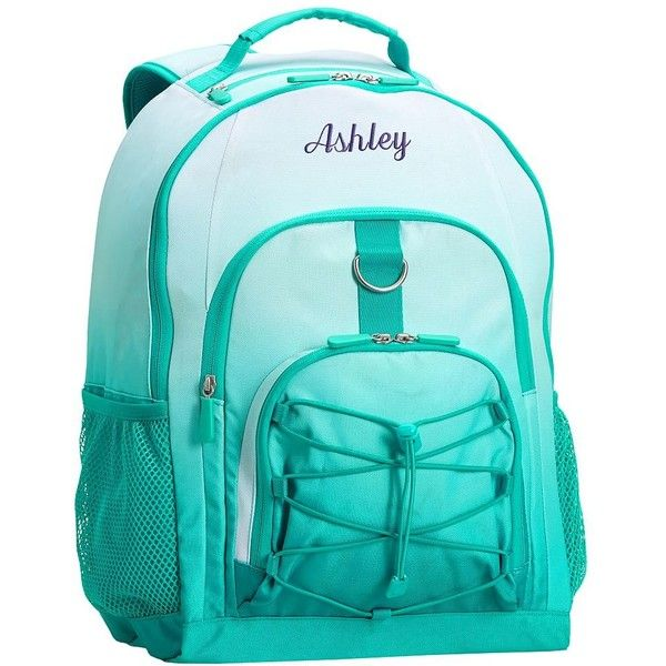 PB Teen Gear-Up Teal Ombre Backpack ($35) ❤ liked on Polyvore featuring bags, backpacks, polka dot backpack, water bottle backpack, blue polka dot backpack, water resistant laptop backpack and blue drawstring backpack