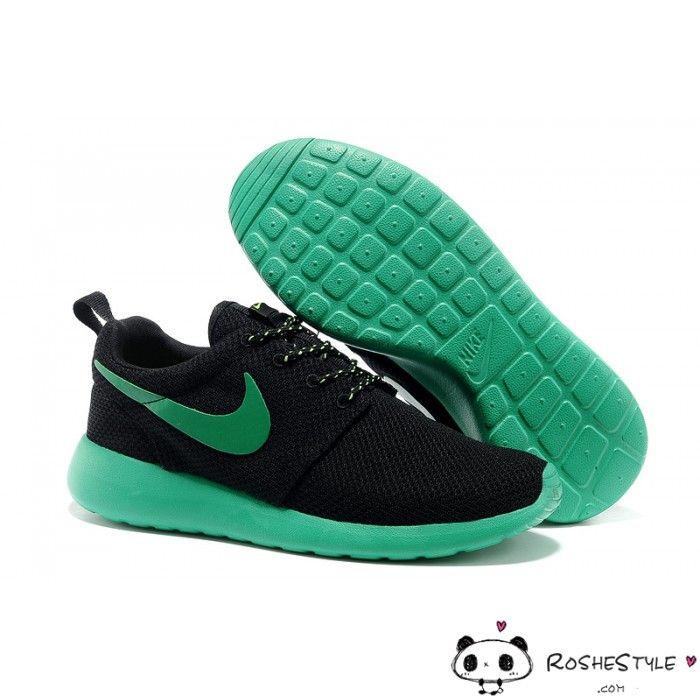 Nike Roshe Run Mesh Black Green Shoes