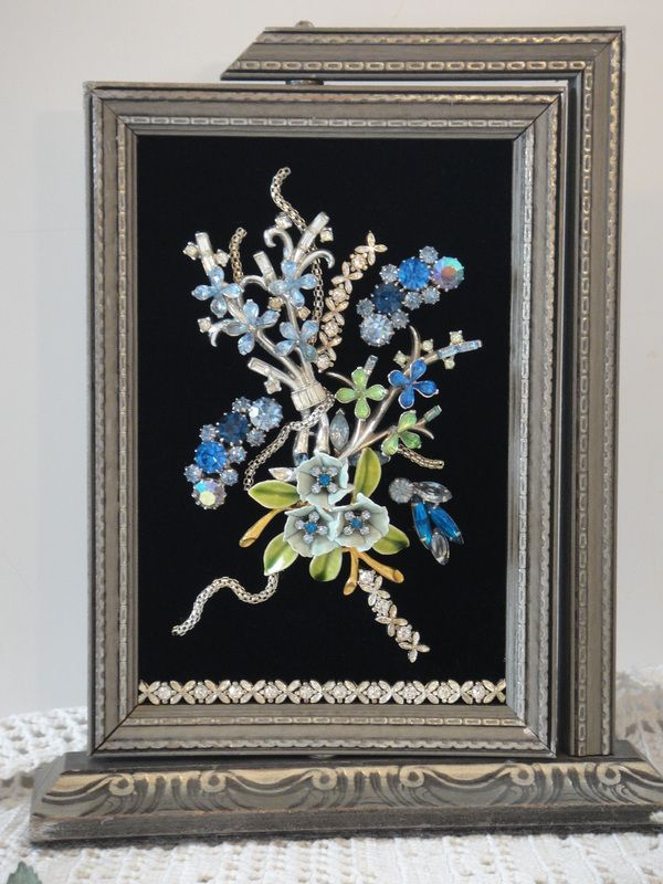 My Vintage Renewed jewelry art is uniquely crafted using many pieces of vintage jewelry. They are housed in antique frames and come in a beautiful gift box for gift giving and storage. Holiday Trees...