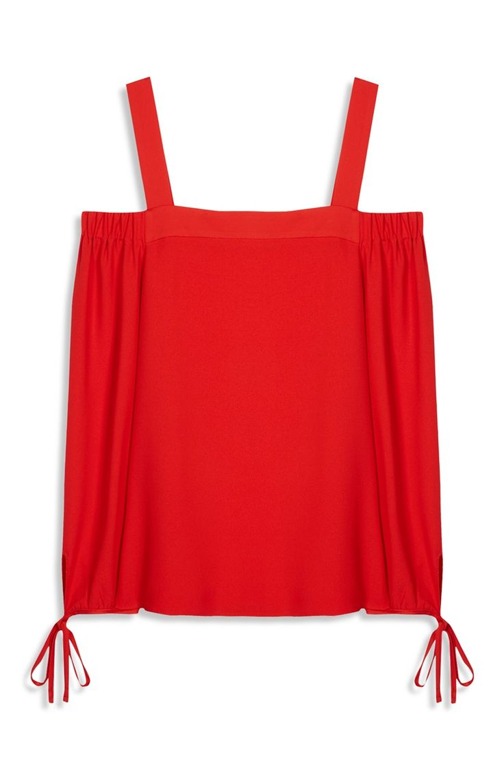Primark - Red Cold Shoulder Bardot Top