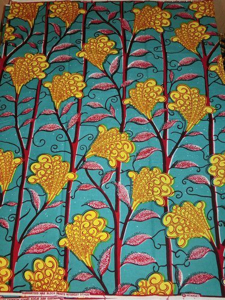 afrikanischer Batik-Stoff -  Pflanzen gelb petrol von Perlen.Schmuck.Edles auf DaWanda.com