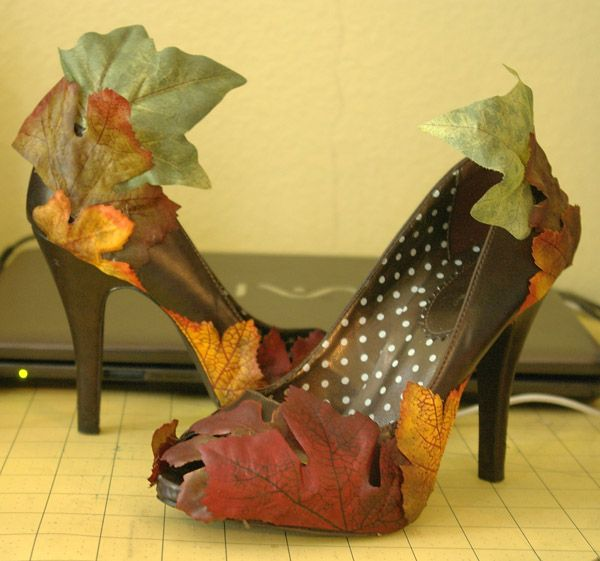 diy heels into fall/autumn/costume boots with fake fabric leaves!