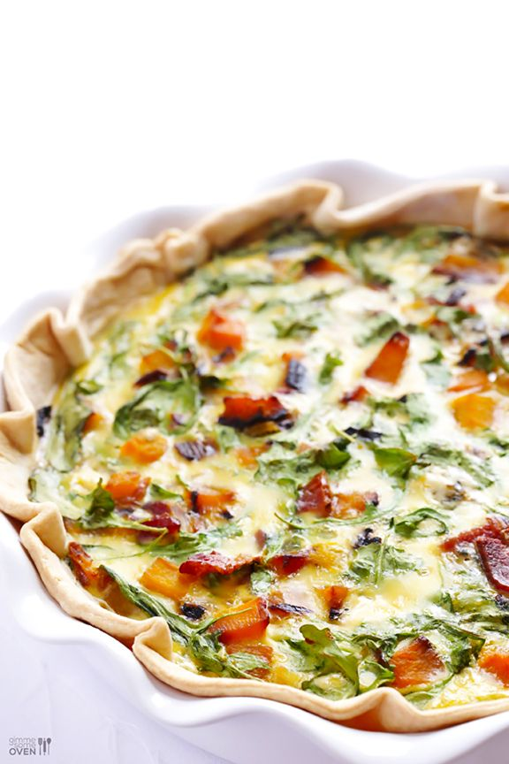 Butternut Squash, Arugula and Bacon Quiche Recipe. This Butternut Squash, Arugula and Bacon Quiche recipe is simple to prepare, and full of the most amazing combination of flavors. A definite breakfast treat