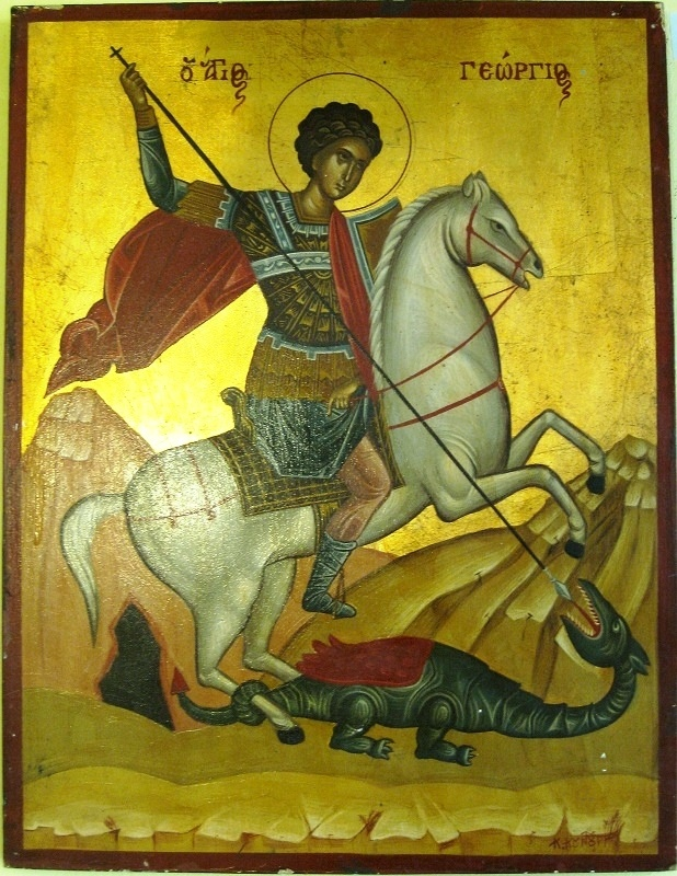 "Agiography. ""Saint Georgios"" by Konstantinos Kountouris. Style: Egg-tempera and leaves of gold for the background. Size:44x34."