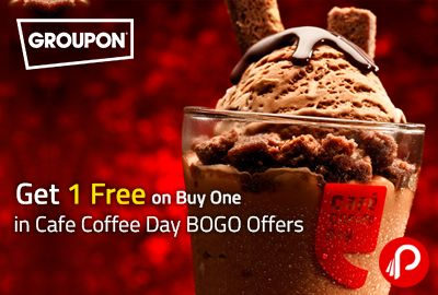 Groupon offers get 1 Free on Buy One (BOGO Offer) in Cafe Coffee Day on Beverages products Just Pay Rs.39 from groupon. Valid across india.  http://www.paisebachaoindia.com/get-1-free-on-buy-one-in-cafe-coffee-day-bogo-offers-groupon/
