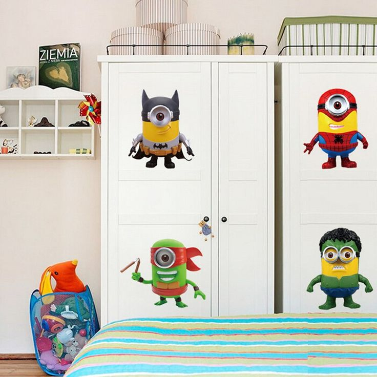 Free shipping Decorative removable kids bedroom 3d minion sticker home decor living room wallpaper $5.79